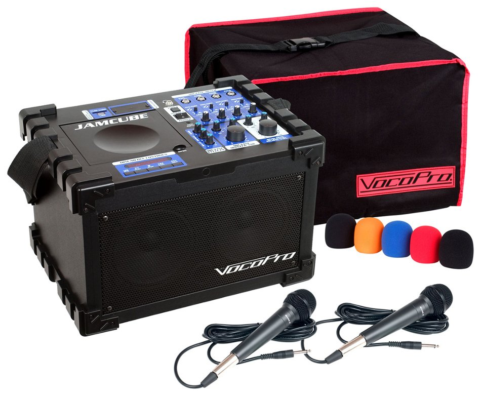 100 Watt All-In-One Compact PA System with (2) Wired Microphones and CD/MP3 Playback