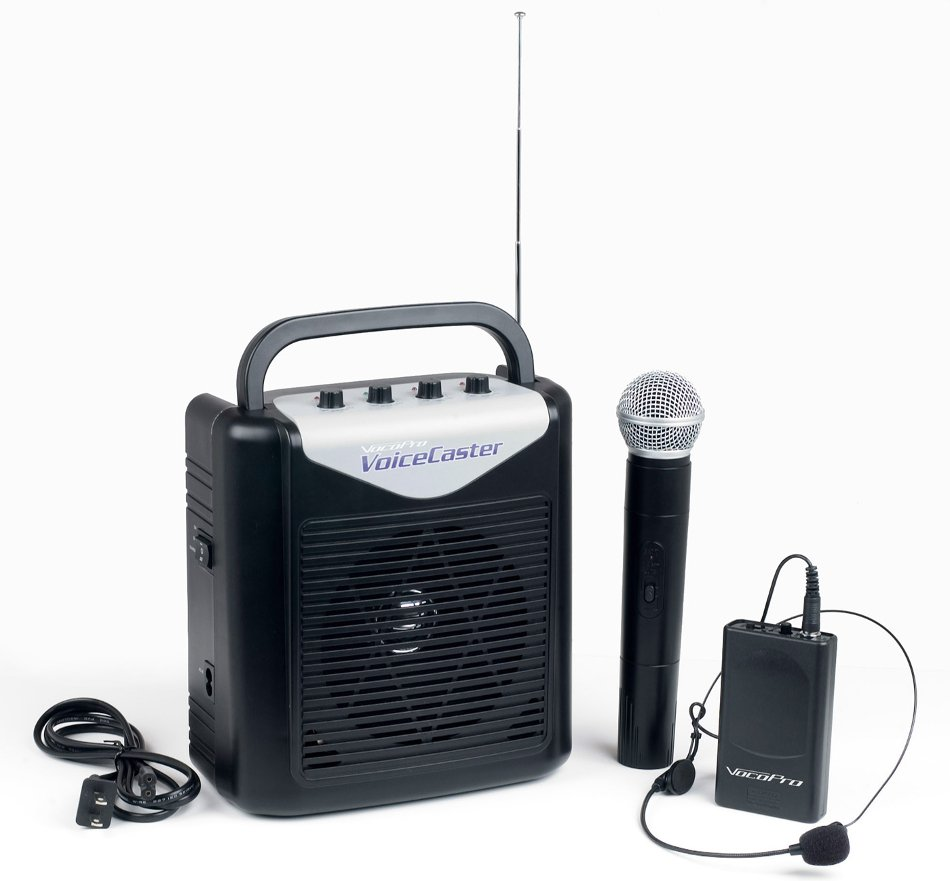 Portable PA System with Rechargeable Battery, Wireless Handheld Microphone and Headset Microphone and Bodypack Transmitter