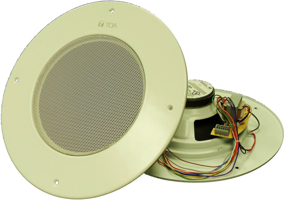 "Pack of (10) 8"" Plenum Rated Ceiling Speakers with 25V/70V Transformer and Center-Grille Volume Adjustment"