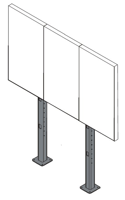 Fusion 3x1 Portrait Micro-Adjustable Large Bolt-Down Freestanding Video Wall
