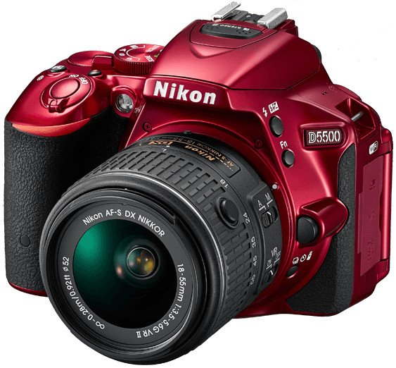 Nikon 1547 24.2MP D5500 DSLR Camera in Red with NIKKOR 18-55mm VRII Lens 1547