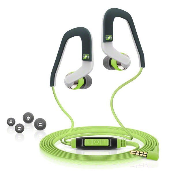 Lightweight Sports Headset with Adjustable Earhooks and Inline Remote for iOS Devices