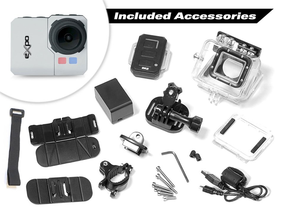 "eXpo HD 20MP Action Camera with 2"" LCD Screen and Wi-Fi Remote"