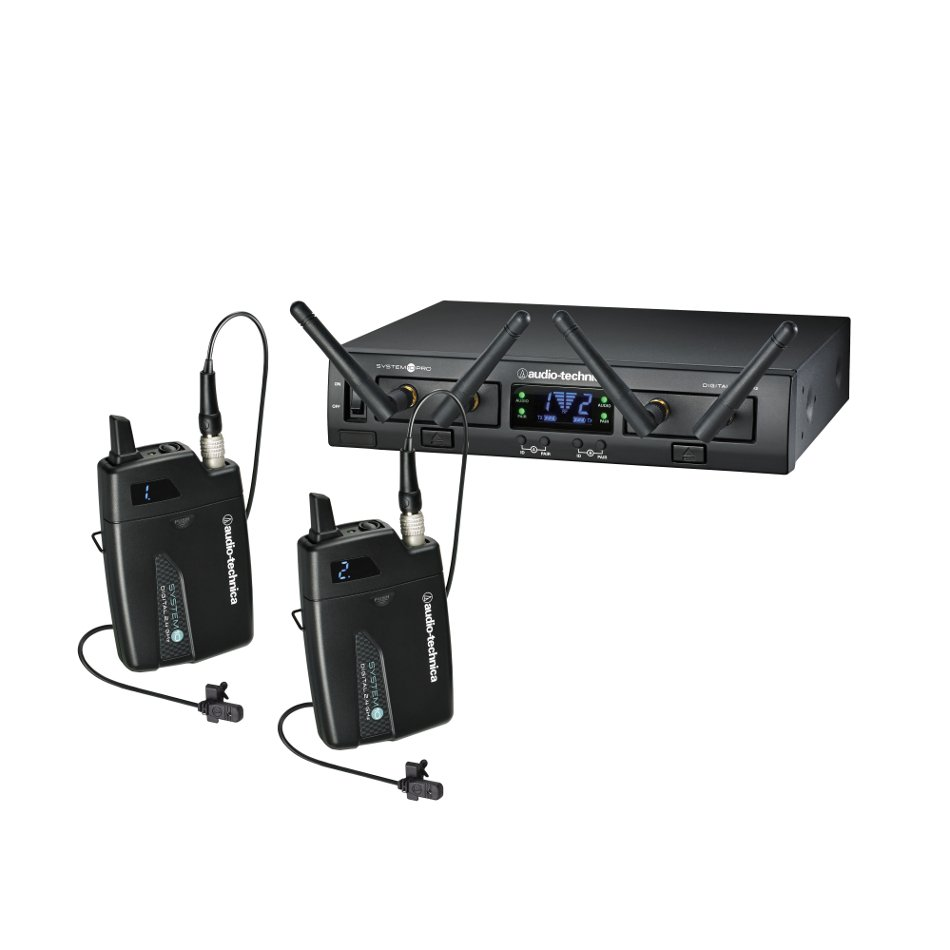 System 10 PRO Rackmount Dual-Channel Digital Wireless Lavalier System with (2) ATW-T1001 Bodypack Transmitters and (2) MT830cW Lavalier Microphones