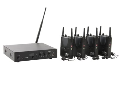 16-Channel UHF Assitive Listening System with (4) Receivers and (1) Transmitter