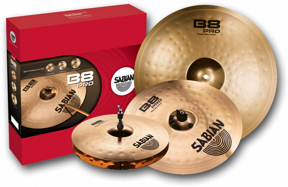 """B8 Pro Performance Cymbal Set - 14"""" Medium Hi-Hats, 16"""" Medium Crash, 20"""" Medium Ride in Brilliant Finish"""