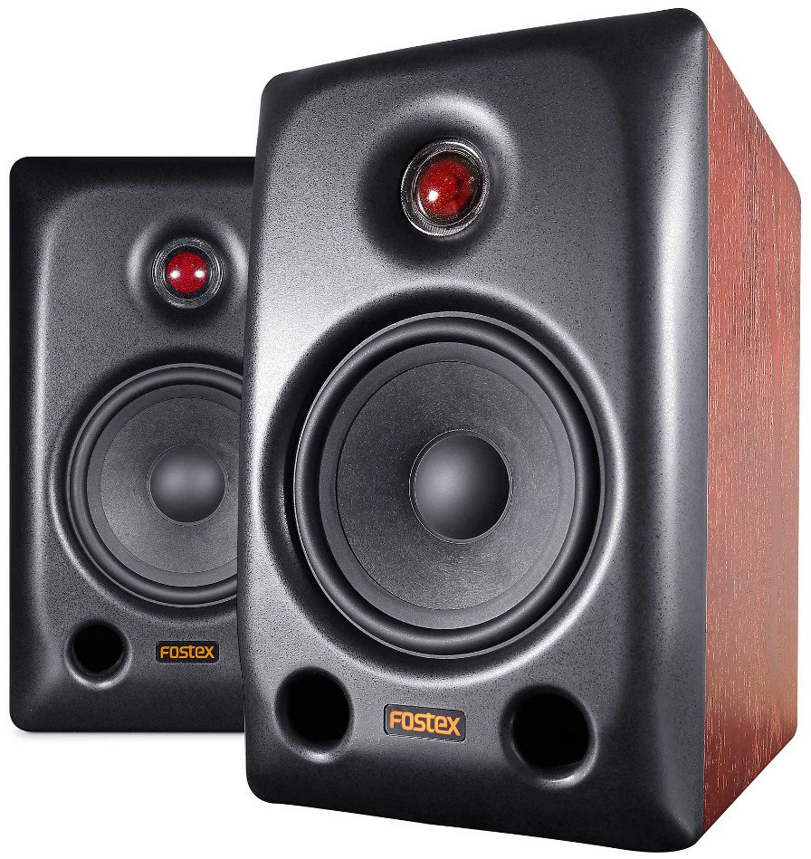 "Pair of 5.2"" Active HiFi Speaker System with Woodgrain Finish"