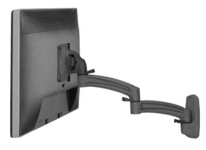 Kontour K2W Wall Mount Swing Arm for Single Monitor in Black