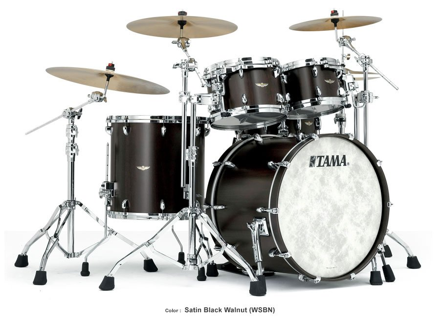 Tama TW52ZSWSBN 5 Piece STAR Walnut Shell Pack in Satin Black Walnut Finish TW52ZSWSBN