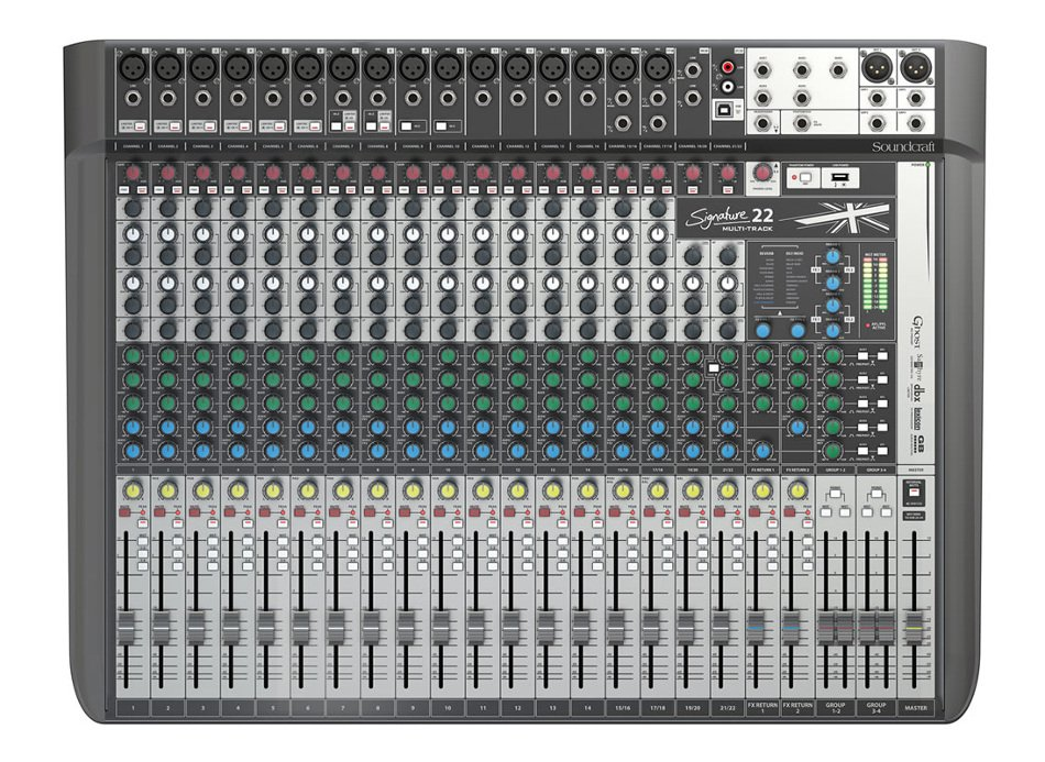 22-Input Analog Mixer with Multi-track USB Interface and Onboard Effects
