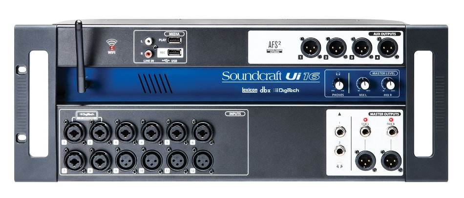 16-Input Remote Controlled Digital Mixer with Onboard Wi-Fi and USB Media Playback/Recorder