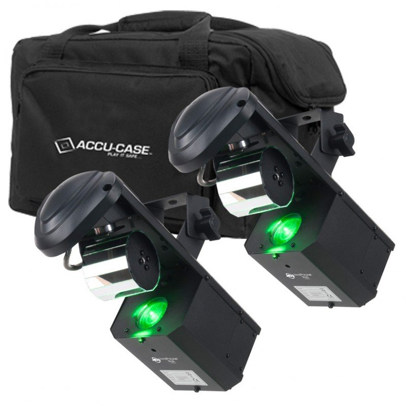 Kit featuring (2) Mini Moving Roller LED Fixtures with (1) F4 Par Bag