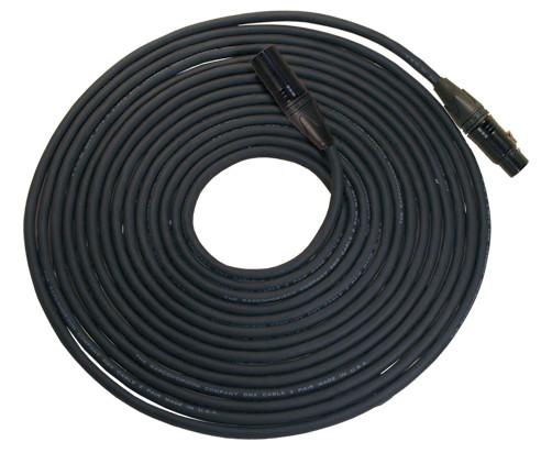 50 Foot Length of 5-Pin DMX, Neutrik Black XLRF to XLRM Cable