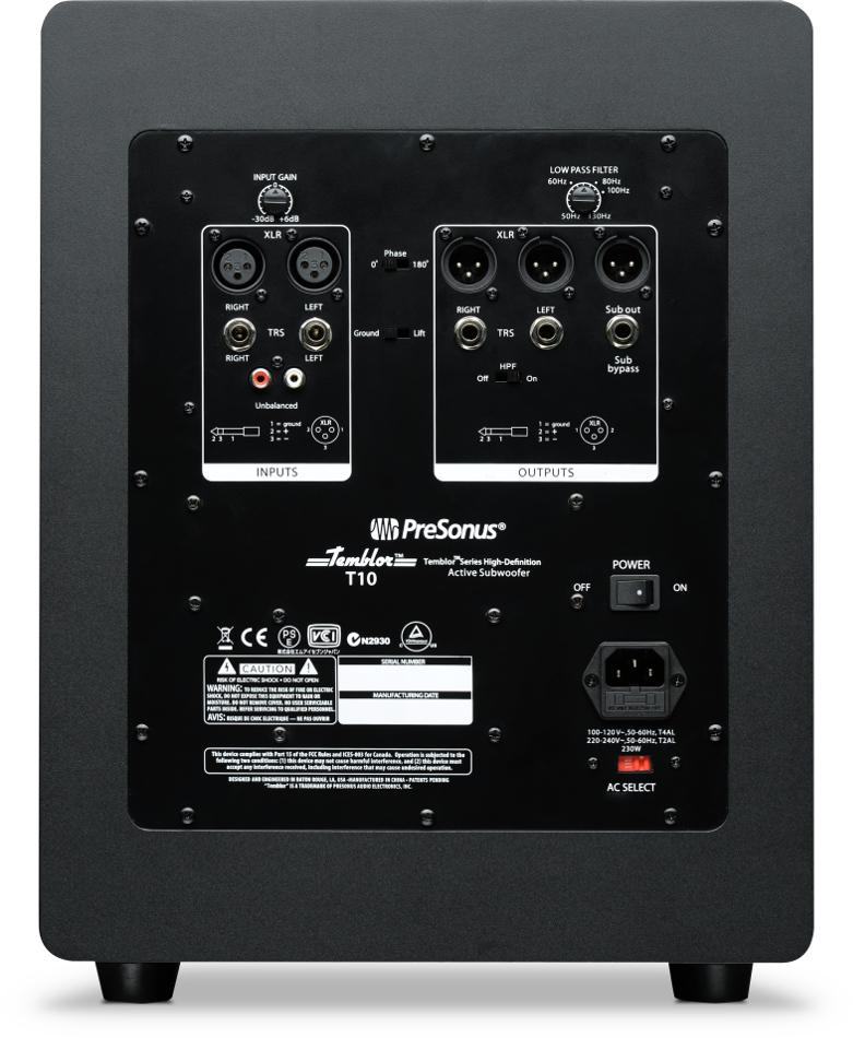 "10"" 250W Active Studio Subwoofer with Front-Firing Bass Reflex Port"