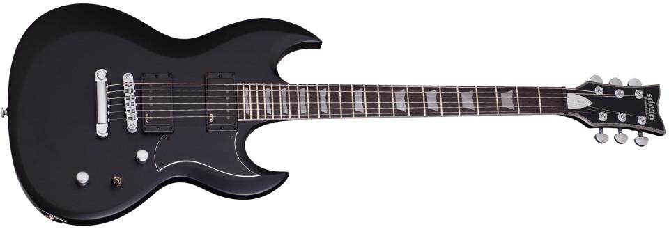 Schecter Guitars S-II Platinum Satin Black String-Thru Electric Guitar S-II-PLATINUM-SBK