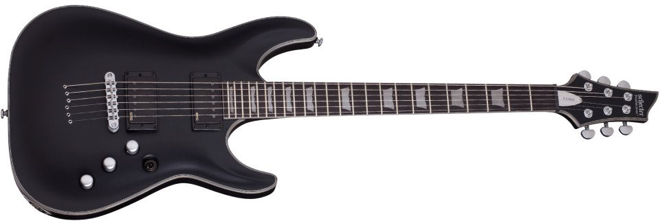 Satin Black String-Thru Electric Guitar