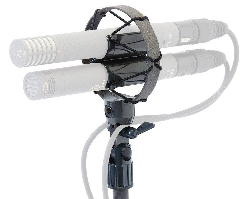 Elastic Suspension Mount for M/S Microphone Setup with Swivel