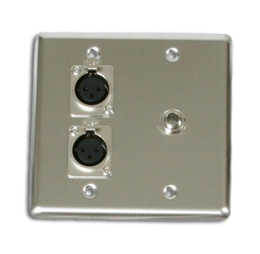 """Elite Core Audio Q-2-XLR-1-1/4  2-Gang Stainless Steel Wall Plate with (2) XLR Female and (1) 1/4"""" Female Connectors Q-2-XLR-1-1/4"""