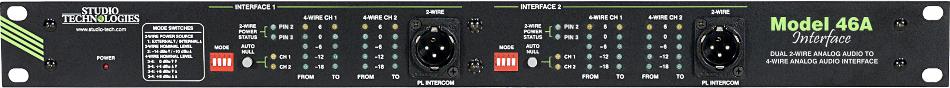 Studio Technologies MODEL-46A  Dual 2-Wire Analog Audio to 4-Wire Analog Audio Party-Line Interface MODEL-46A