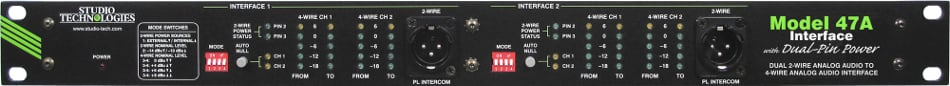 Studio Technologies Model 47A Dual 2-Wire Analog Audio to 4-Wire Analog Audio Party-Line Interface MODEL-47A