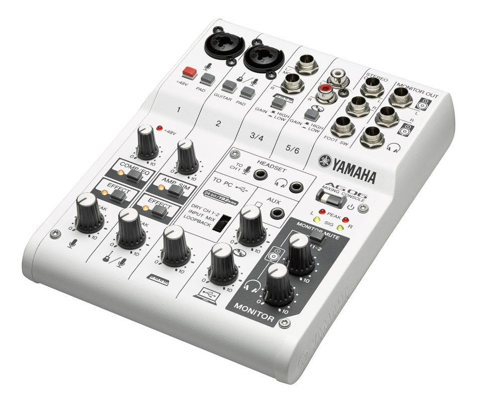 Yamaha AG06 6-Channel Mixer with Onboard DSP and USB Audio Interface AG06-CA