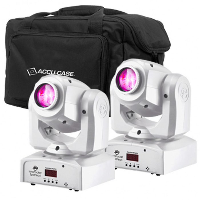 2x Inno Pocket Spot Moving Head LEDs in White with F4 Par Bag