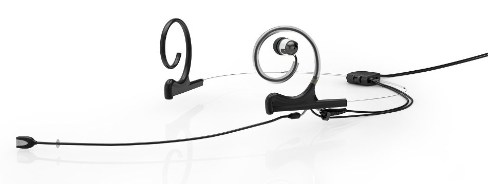 d:fine™ In-Ear Broadcast Cardioid Headset Microphone in Black with Dual-Ear Mounts, Single In-Ear Monitor, and 120mm Boom