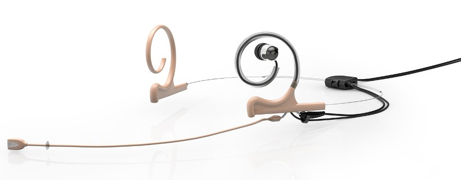 d:fine™ In-Ear Broadcast Cardioid Headset Microphone in Beige with Dual-Ear Mounts, Single In-Ear Monitor, and 120mm Boom