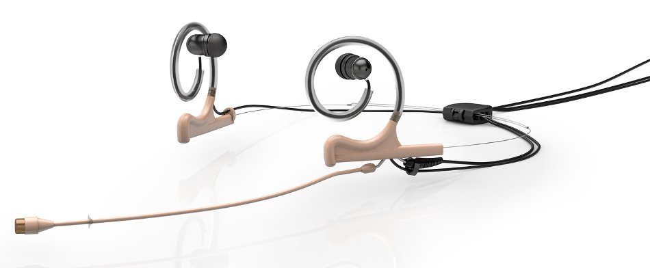 d:fine™ 66 In-Ear Broadcast Omnidirectional Headset Microphone in Beige with Dual-Ear Mounts, Dual In-Ear Monitors, and 110mm Boom