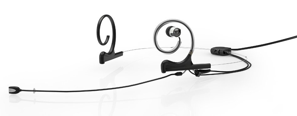 d:fine™ In-Ear Broadcast Omnidirectional Headset Microphone in Black with Dual-Ear Mounts, Single In-Ear Monitor, and 110mm Boom