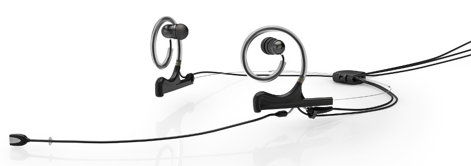 d:fine™ In-Ear Broadcast Omnidirectional Headset Microphone in Black with Dual-Ear Mounts, Dual In-Ear Monitors, and 110mm Boom
