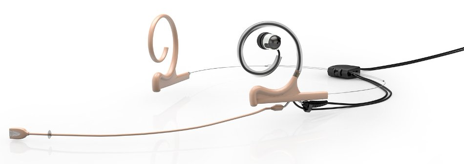 d:fine™ In-Ear Broadcast Omnidirectional Headset Microphone in Beige with Dual-Ear Mounts, Single In-Ear Monitor, and 110mm Boom