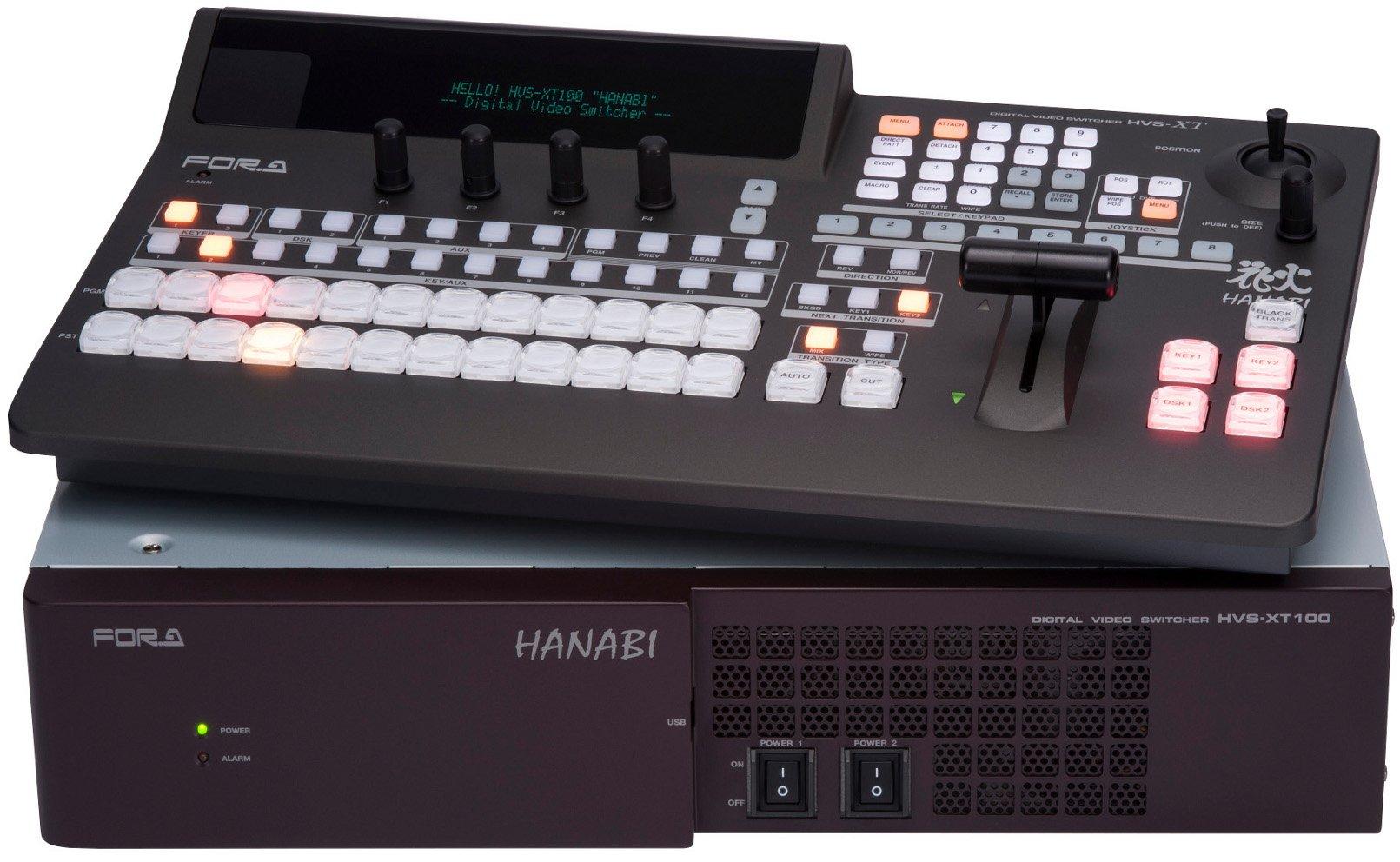 FOR-A Corporation HVS-100 Type A Hanabi XT Switcher 1M/E Switcher with HVS-100OU 12-Button Operation Unit HVS-100-TYPE-A