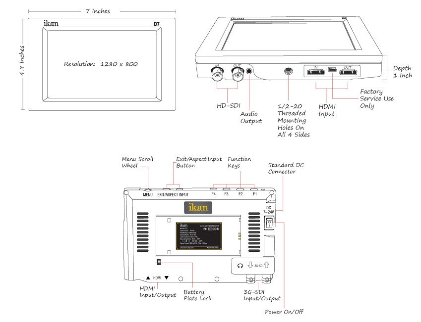"""7"""" 3G-SDI LCD Monitor with IPS Panel and Canon 900/Sony L/Panasonic D54 Battery Plates"""