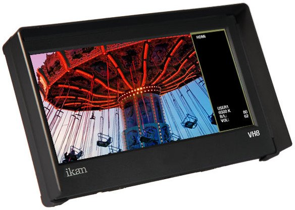 """8"""" HDMI LCD Monitor with HD Panel and Canon 900/Sony L/Panasonic D54 Battery Plates"""