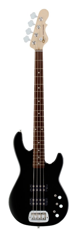 Gloss Black Tribute Series 4-String Electric Bass with Basswood Body and Rosewood Fingerboard