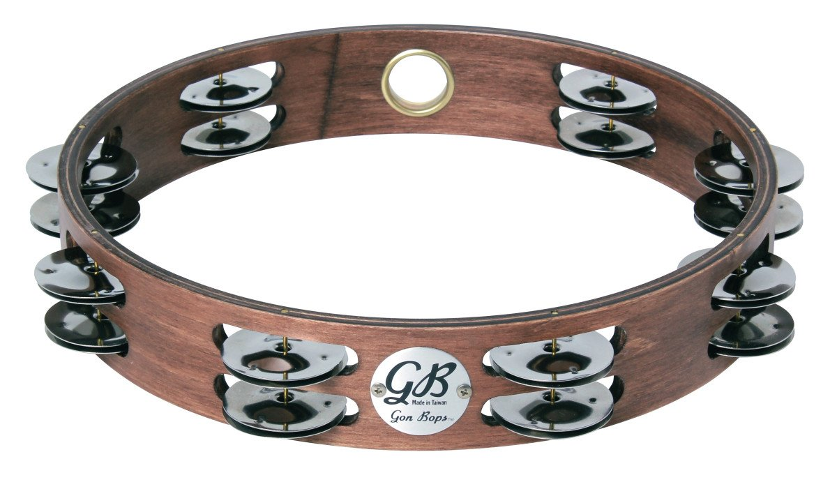 "10"" Wood Tambourine with Two Rows of Jingles and No Head"