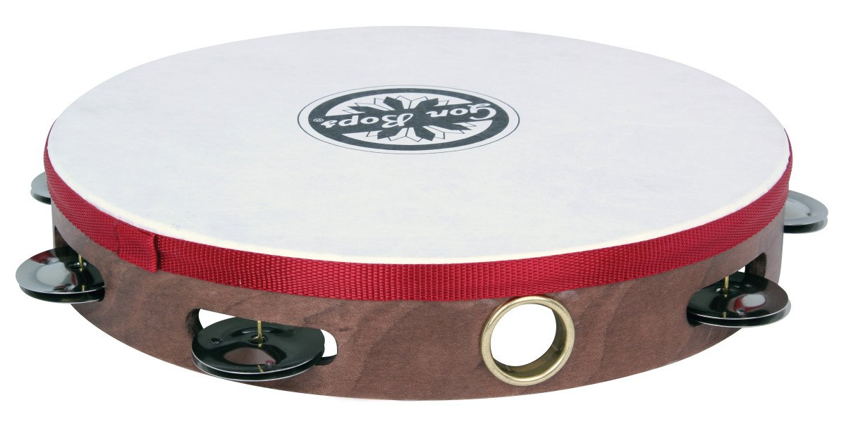 "10"" Wood Tambourine with Single Row of Jingles and Head"