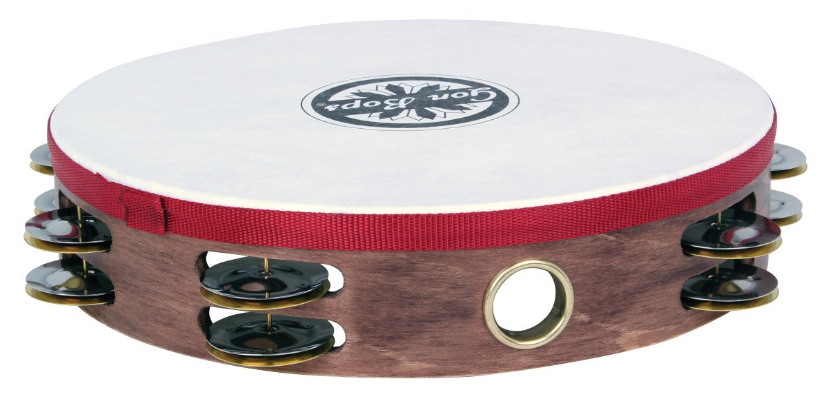 "10"" Wood Tambourine with Two Rows of Jingles and Head"