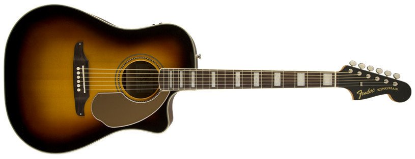 3-Color Sunburst Dreadnought Acoustic / Electric Guitar with Case