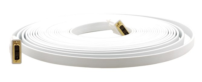 25' DVI Flat Cable Male to Male in White