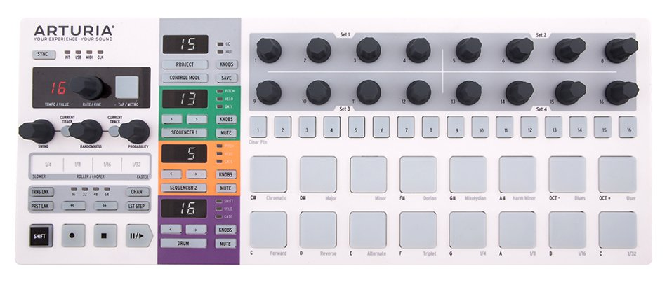 Controller and Performance Sequencer with Dual 64-Step Monophonic Sequencers and 16 Drum Pads