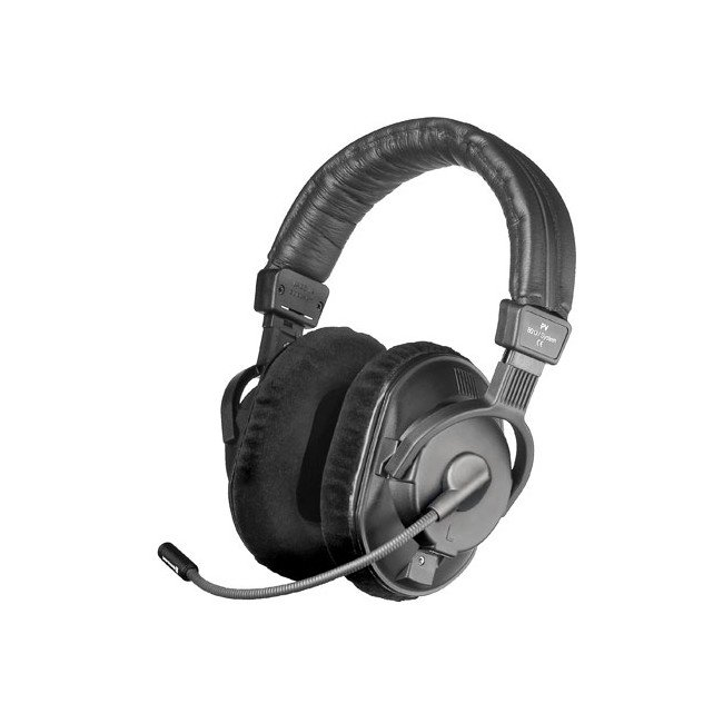80 Ohm Dual-Ear Phantom Powered Communication Headset with Condenser Microphone