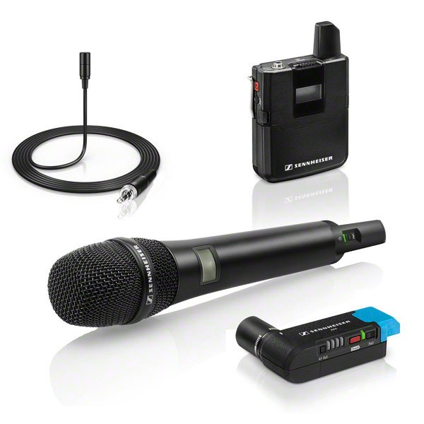 Wireless Combo Microphone System for Filmmaking with Handheld and Bodypack Transmitters and Lavalier Microphone