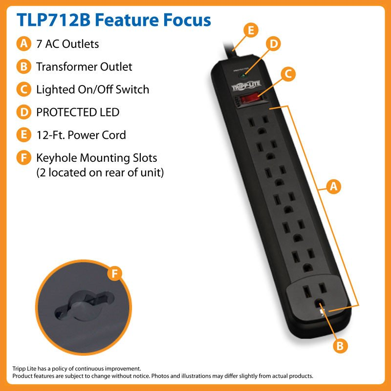 Tripp Lite TLP712B  Protect It! 7-Outlet 1080 Joules Surge Protector with 12-ft. Cord and Black Housing TLP712B