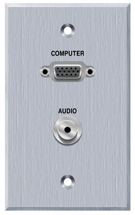 Single Gang VGA and 3.5MM TRS Panelcrafters Aluminum Faceplate