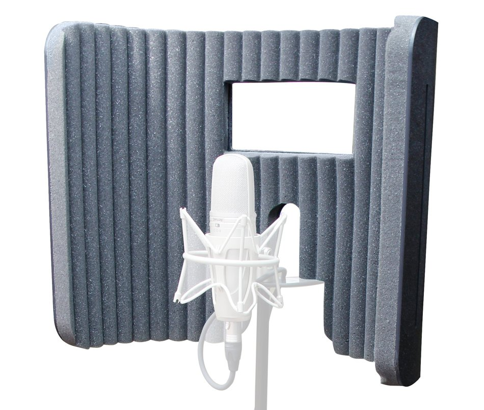 Nearfield Absorber with Viewing Window for Vocal Recording Microphones