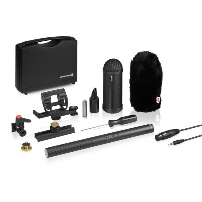 Battery/Phantom Powered Shotgun Condenser Microphone with Rycote Universal Camera Kit