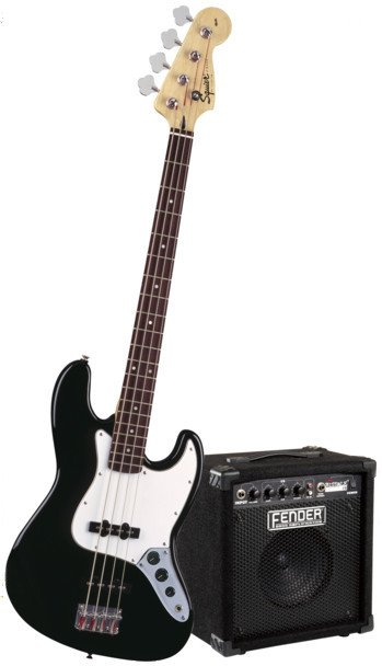 Affinity Series Black J Electric Bass with Fender Rumble 15 Bass Amplifier and Accessories