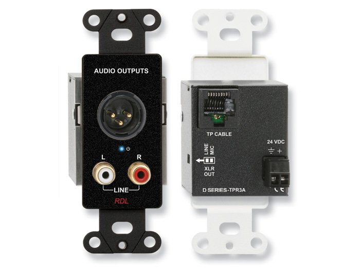 Radio Design Labs DB-TPR3A  Active Three-Pair Receiver Wall Plate with XLR and RCA Connectors DB-TPR3A